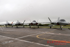 Life-size replicas of the  Royal Navy F-35B Lightning II jets, that will be used by RNAS Culdrose Dummy Deck facility, to simulate and train for F35B movements on the new HMS Queen Elizabeth aircraft carrier