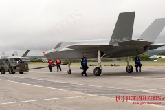 Life-size replicas of the  Royal Navy F-35B Lightning II jets, during aircraft movements at RNAS Culdrose Dummy Deck facility. These aircraft are used to replicate real F35B aircraft to provide training aids for Royal Navy Aircraft Handlers training to join HMS Queen Elizabeth