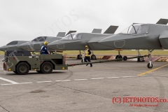 Aircraft Handlers manouvre the F35B Jet replicas, as they would on HMS Queen Elizabeth