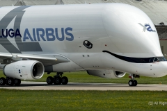 Airbus A330-743L Beluga XL2, F-WBXS  moving down runway after landing at Hawarden Airport