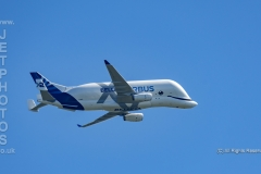 Airbus A330-743L Beluga XL2, F-WBXS overhead at Hawarden Airport