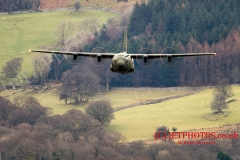 RAF C130J Hercules flying low level in Wales LFA7, (Low Flying Area 7)