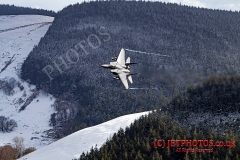 USAF F-15E Strike Eagle Low Level in Snowdonia, Wales, LFA7 (The Roundabout) in winter