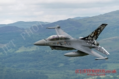 Belgian Air Force, F-16B Semper Vulture, low level in Wales Mach Loop, LFA7. The Semper Vulture special tail scheme is to celebrate 30 years of the Belgian Air Force Operational Conversion Unit (BAF, OCU)