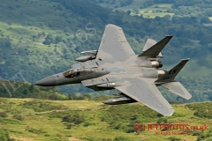 F-15C Eagle aircraft from RAF Lakenheath on a low level training flight in the Mach Loop, LFA7 area of Snowdonia