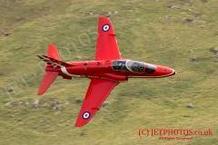 RAF Red Arrow Hawk on a low level training flight in the Mach Loop (LFA7)