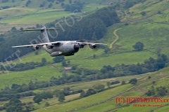 RAF Atlas A400M on a low level training flight in the Mach Loop area of Snowdonia Wales.