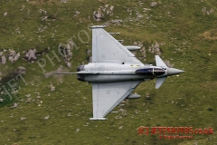 RAF Typhoon FGR4, conducting low level flying training in Snowdonia, Wales. The Mach Loop, LFA7, Low Flying Area 7,