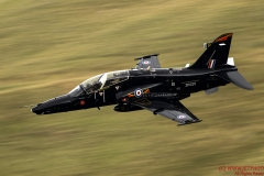 BAE Raf Hawk T2 aircraft, low level flying training in the Mach Loop
