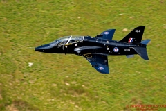 Royal Navy Hawk T1 aircraft flying low level in the mach loop area of Wales (LFA7, low flying area 7) near Snowdonia