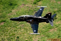 RAF Hawk T2 Jet Trainer flying low level in the mach loop area of Wales (LFA7, low flying area 7) near Snowdonia