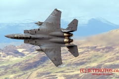 "F15 E Strike Eagle from RAF Lankenheath ""Madhatters"" of the USAF, low flying training during winter in LFA7"
