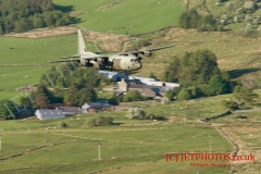 RAF C130 Hercules flying in LFA7, Wales