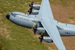 RAF Atlas A400M aircraft low level in the Mach Loop (LFA7)