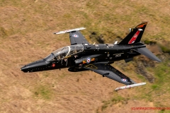 RAF Hawk T2 Jet Low Level in the mach loop snowdonia area of Wales (LFA7)