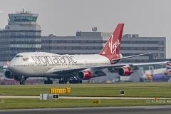 "Virgin Alantic 747-400, GVLIP, ""Hot Lips"" landing at Manchester Airport"