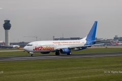 Jet2holidays Boeing 737-85P, G-GDFF,  taking off at Manchester Airport