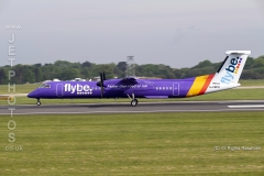 Flybe Dash 8 Q400, G-PRPO, taking off at Manchester Airport