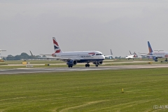 British Airways A320-232, G-EUYS taxying for take off position at Manchester Airport