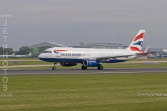 British Airways A320-232, G-EUYS,  rolling for take off at Manchester Airport