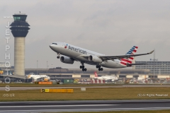 American Airlines Airbus A330-243, N291AY take off at Manchester Airport