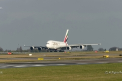 Emirates A380 A6-EDF lands on runway at Manchester Airport