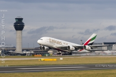 Emirates A380-800, A6-EDF take off at Manchester Airport