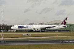 """Qatar Airways 737-3DZ(ER)  A7-BAB in """"One World"""" llivery at Manchester Airport"""