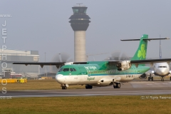 Stobart Air,Air Lingus Regional, ATR 72-600, EI-FAW, named St Cronan readies for take off at Manchester Airport