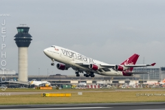 Virgin Alantic Boeing 747-400, G-VROM, named Barbarella, takes off at Manchester Airport