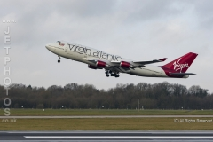 Virgin Alantic Boeing 747-400, G-VBIG, named Tinker Belle, takes off at Manchester Airport