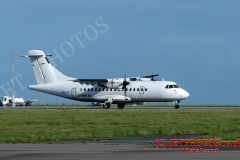 Stobart Air ATR42-300 speeds along the runway at  Cornwall Newquay Airport
