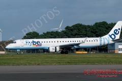 "Flybe Embraer ERJ-195, G-FBEI, at Cornwall Newquay Airport, ""Proudly serving Wales"" ""Yn Falch o Wasanaethu Cymru"""