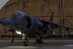 Hawker Siddeley, RAF  Harrier Jet GR3 at a nightshoot at Cornwall Aviation Heritage Centre