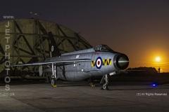 RAF Lightning XR768, nightshoot at Cornwall Aviation Heritage Centre, with Full (Harvest) Moon Rising,