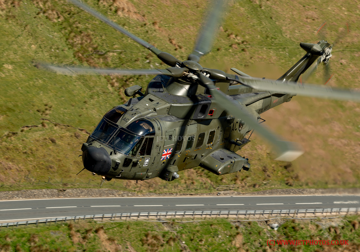Royal Navy Merlin MK3A Commando Helicopter from RNAS Yeovilton, flying low level in The Mach Loop