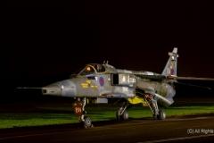 RAF Sepecat Jaguar, GR1, BN, XX825, 17 Squadron, RAF Briggen at RAF Cosford/Threshold.Aero nightshoot
