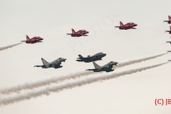 F35B lightning ii, Red Arrows Display Team and Eurofighter(s) in formation flypast,