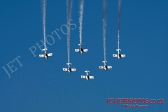 Team Raven aerobatic team perform  in blue skies, on a summer day in Weston-super-Mare, UK.